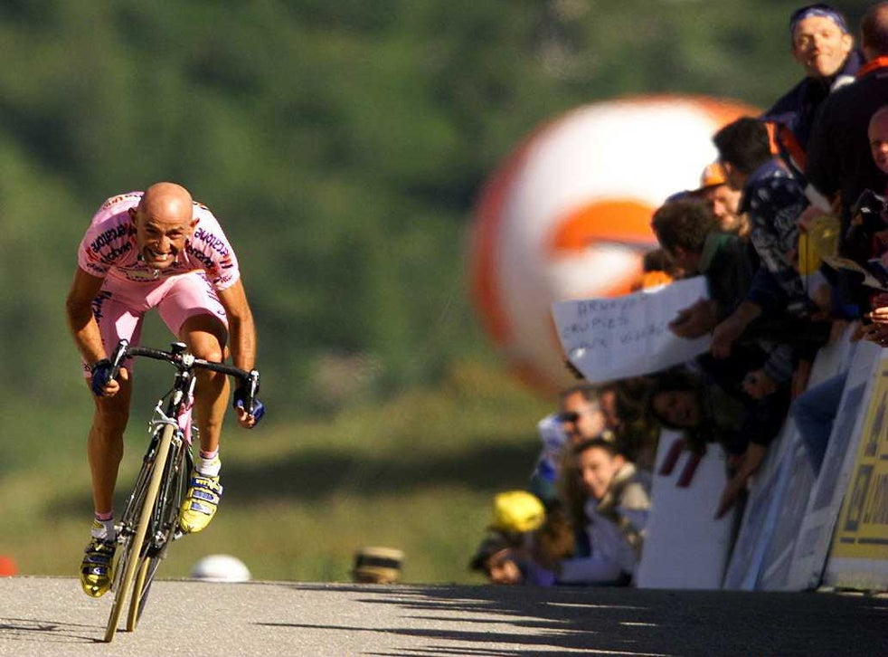 Marco Pantani, here in the maglia rosa, was known for his attacking climbing