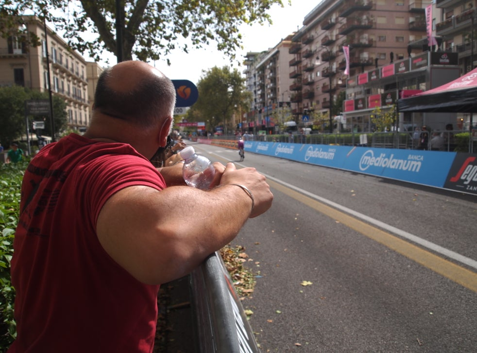 Near the finish line of stage one of the Giro d'Italia 2020