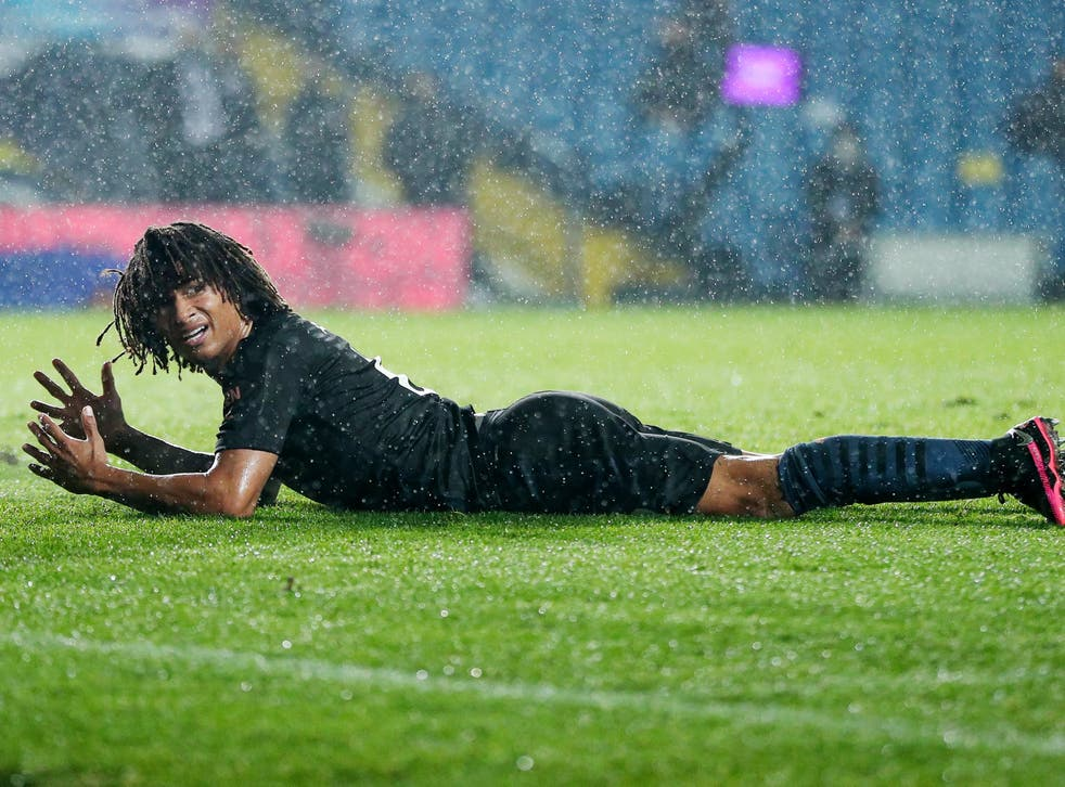 Nathan Ake reacts during City's draw against Leeds