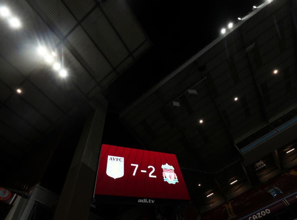 The Villa Park scoreboard tells the barely believable scoreline from Sunday's match