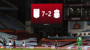 Liverpool players look dejected after their Premier League match against Aston Villa ended 7-2 at Villa Park stadium in Birmingham