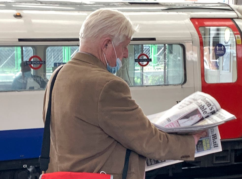 Mr Johnsonwas photographed wearing the mask incorrectly at a Bakerloo line station on Monday