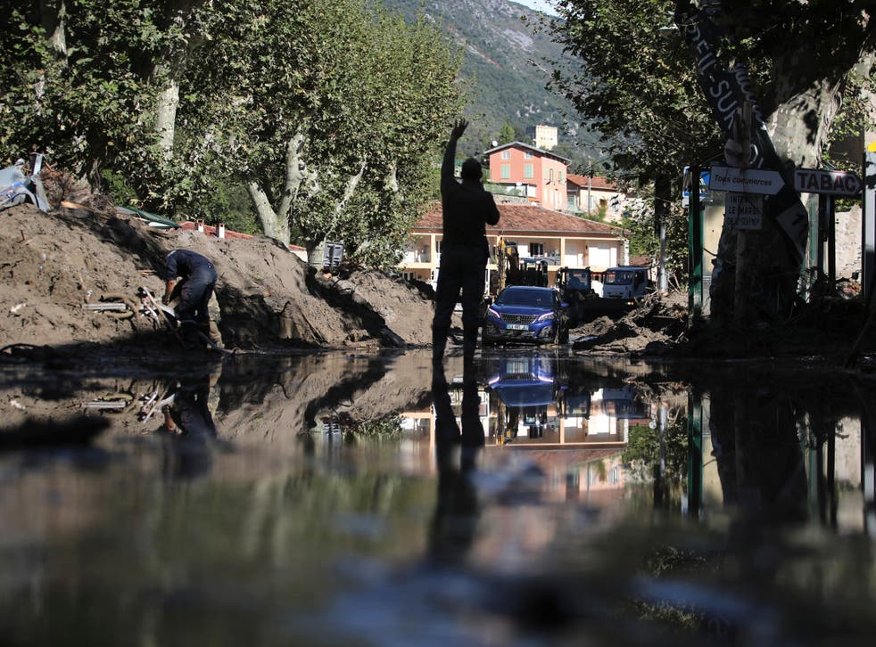 Heavy flooding devastated areas around the shared French and Italian border after a storm swept through the two countries