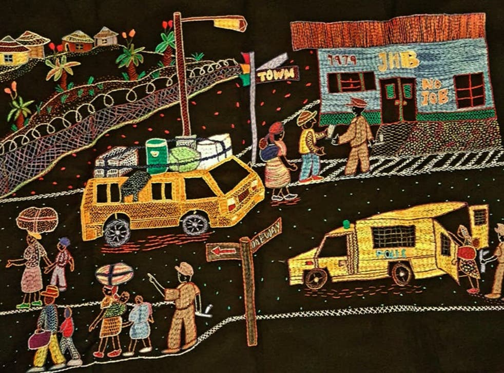 Embroidery by a woman who lived through traumas of apartheid
