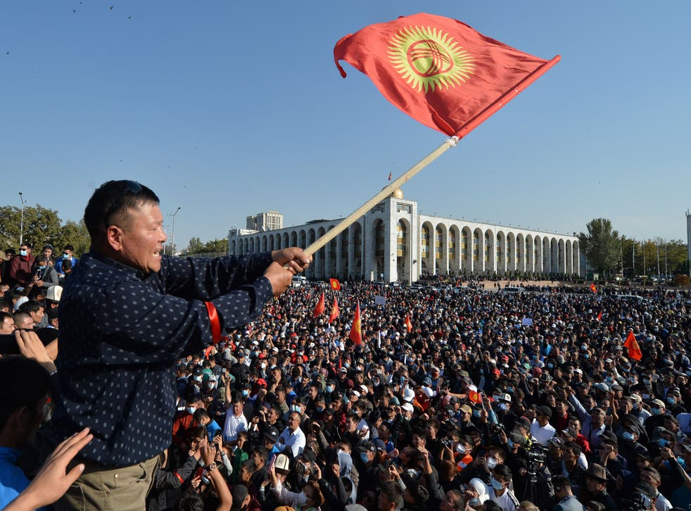 People protest against the results of a parliamentary vote in Bishkek