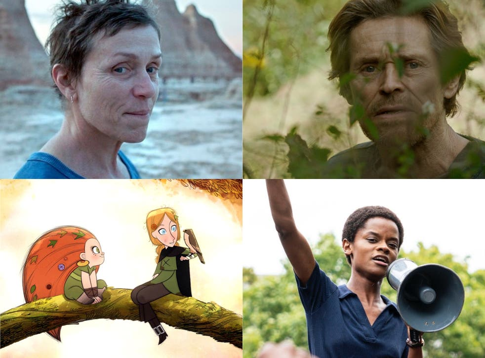 Clockwise: Willem Dafoe in 'Siberia', Letitia Wright in 'Mangrove', 'Wolfwalkers' and Frances McDormand in 'Nomadland'