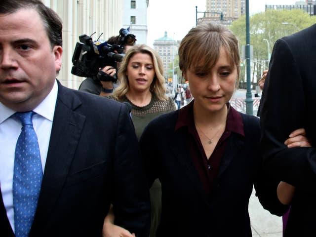 Allison Mack arrives at court in 2018