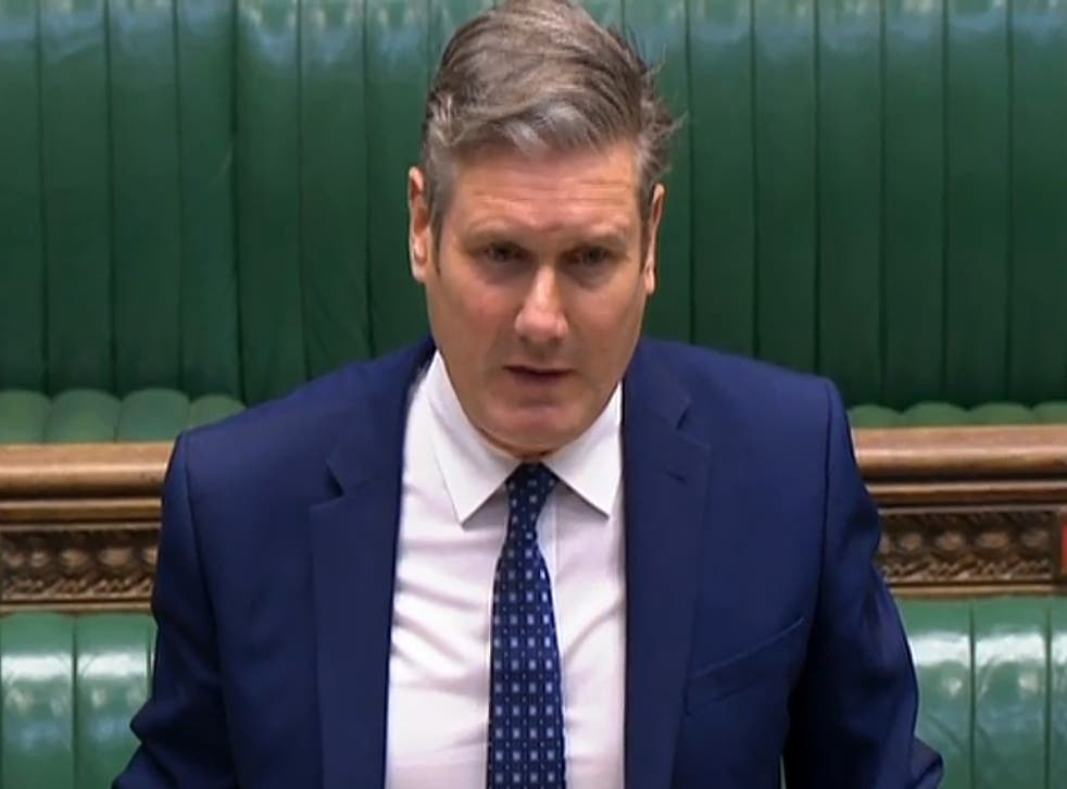 Sir Keir Starmer questions Boris Johnson in the House of Commons