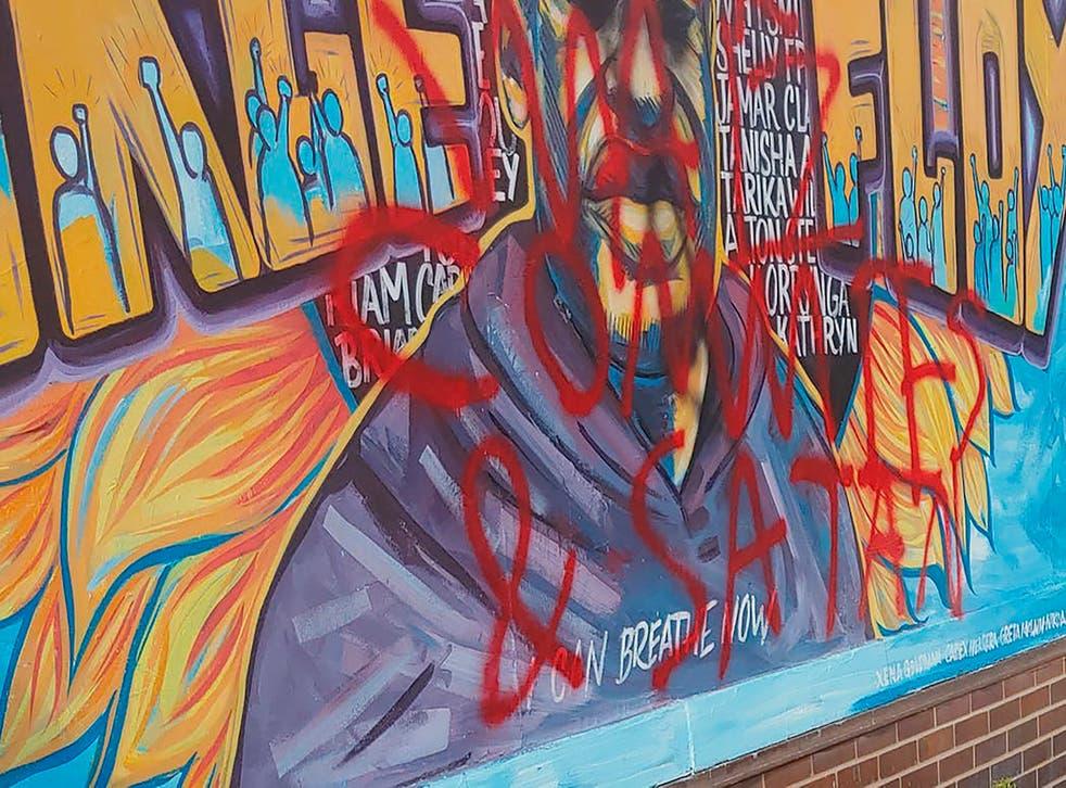 George Floyd Mural Defaced