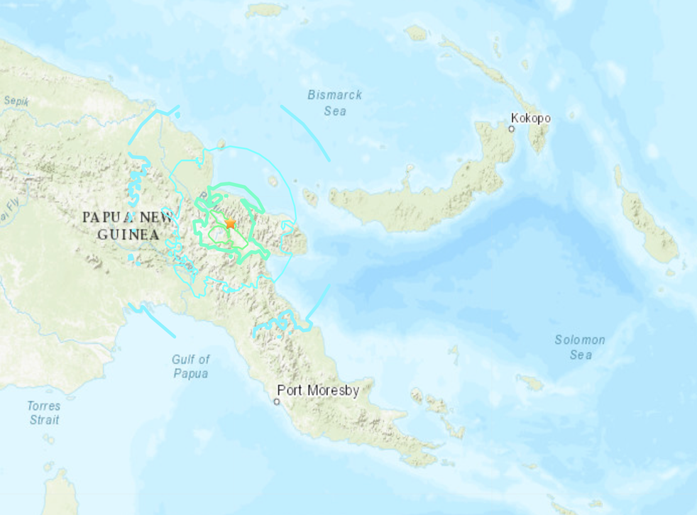 Un mapa del USGS muestra el epicentro de un terremoto que azotó a Papúa Nueva Guinea el 8 de octubre de 2020.
