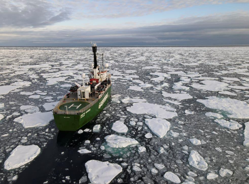 <p>Greenpeace's Arctic Sunrise ship navigates through floating ice in the Arctic Ocean</p>