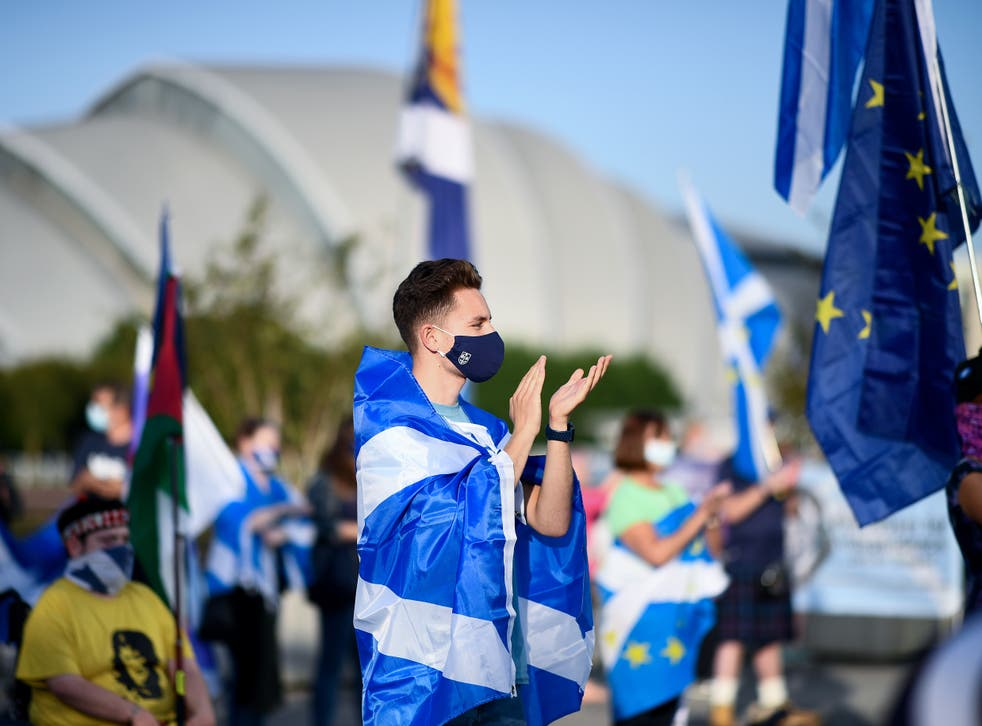 A socially distanced rally for Scottish independence in Glasgow in September