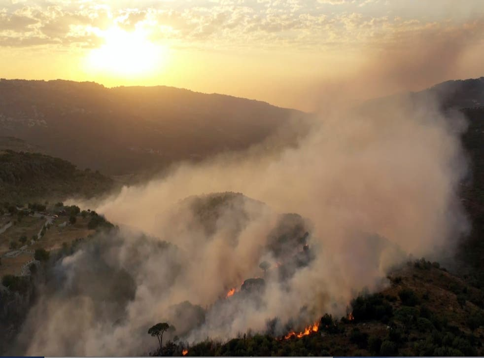 Incendios forestales en el Líbano