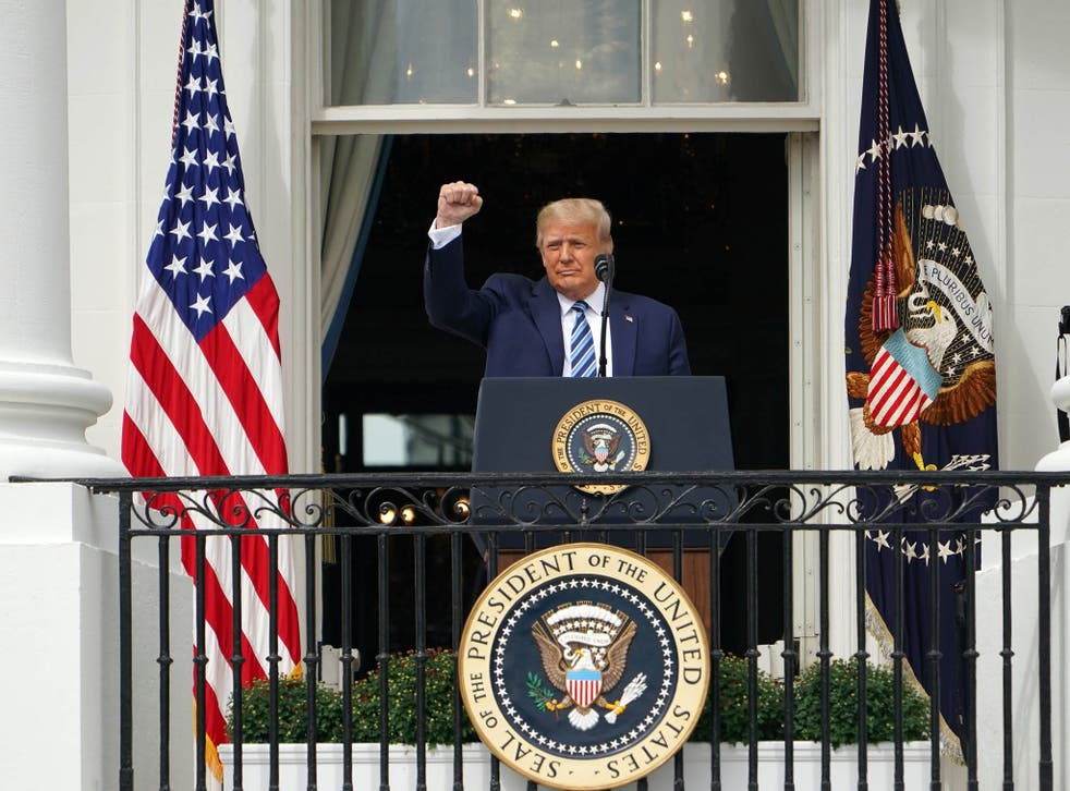 Trump spoke publicly for the first time since testing positive for Covid-19, as he prepares a rapid return to the campaign trail just three weeks before the election