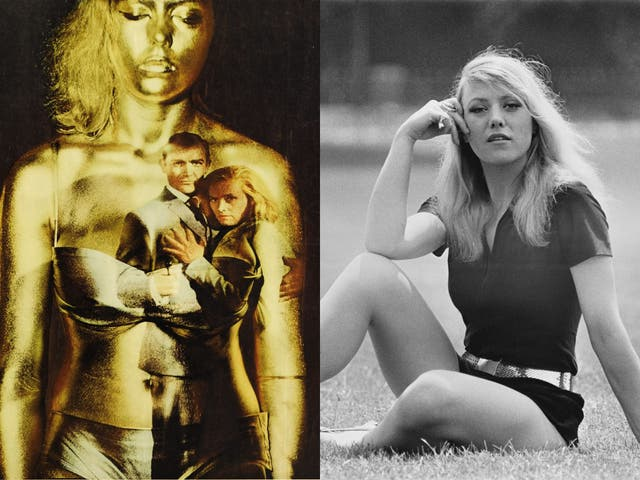 Margaret Nolan in the poster for 'Goldfinger' (left) and photographed in 1971 (right)