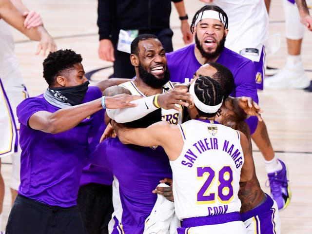<p>File image: LeBron James of the Los Angeles Lakers celebrates with Quinn Cook</p>