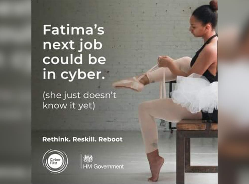 The advert, which is part of a campaign to encourage people to consider a career in cyber-security, features a ballet dancer and suggests she could retrain to be an IT specialist