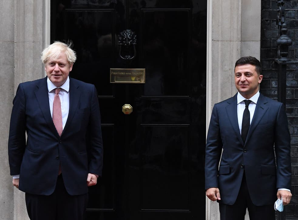 Boris Johnson greets  Volodymyr Zelensky outside 10 Downing Street