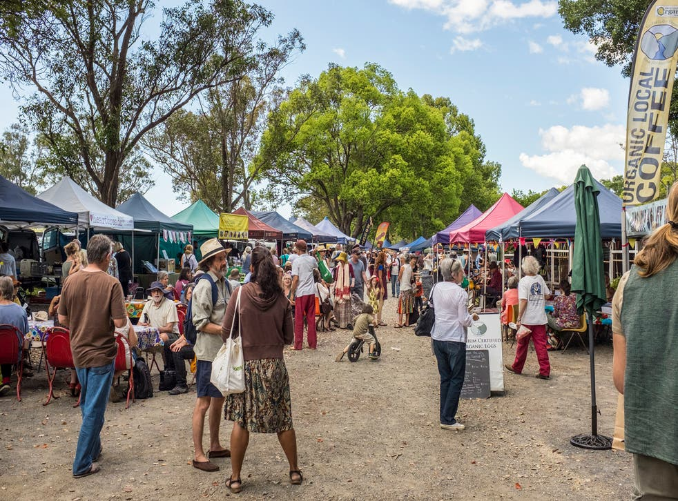 People browsing at Mullumbimby Farmers' Market, New South Wales
