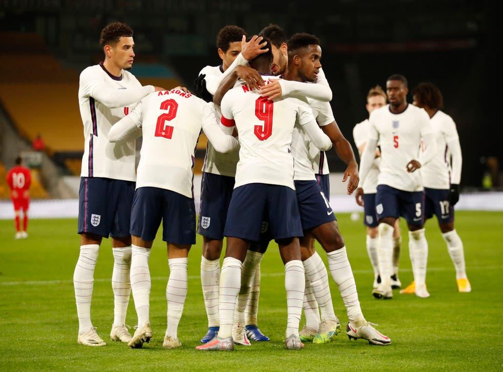 England celebrate after Eddie Nketiah's goal