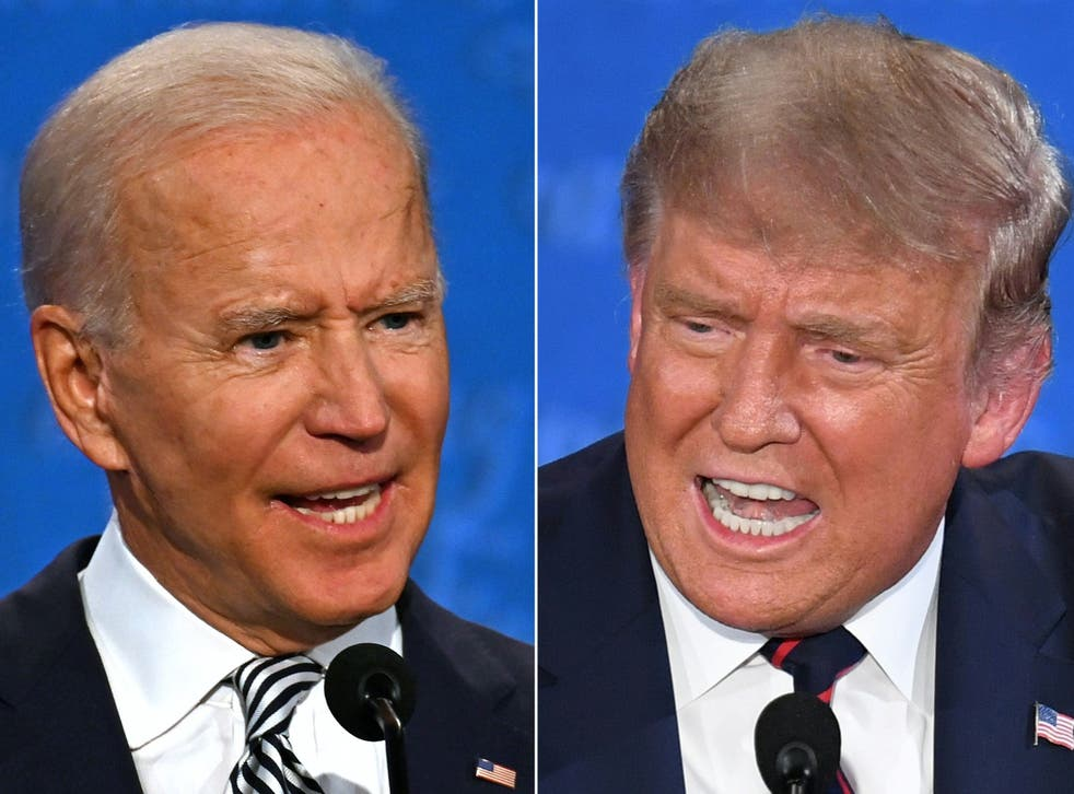 Democratic Presidential candidate and former US Vice President Joe Biden (L) and US President Donald Trump speak during the first presidential debate