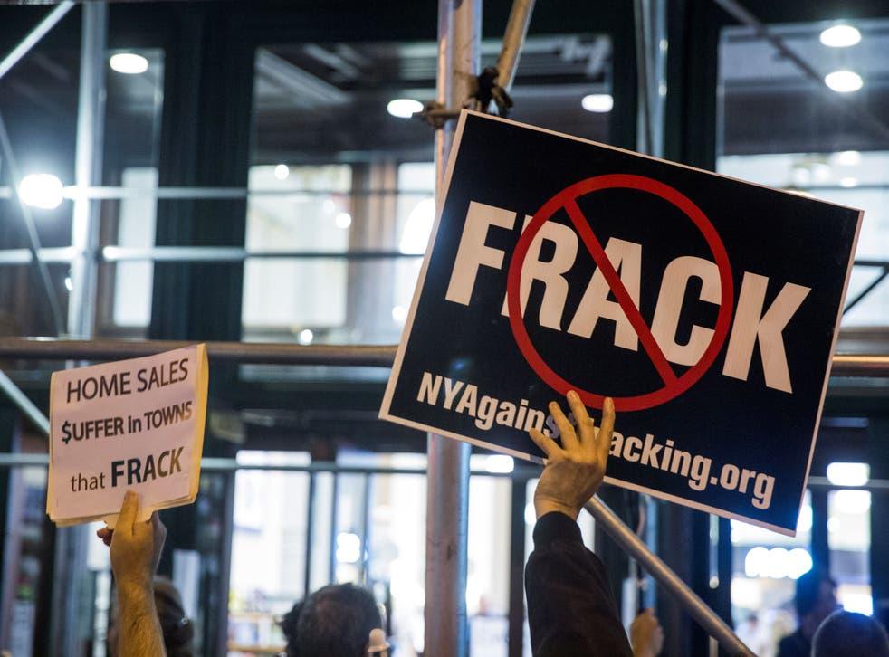 Protesters demonstrate against fracking in New York, October 2014