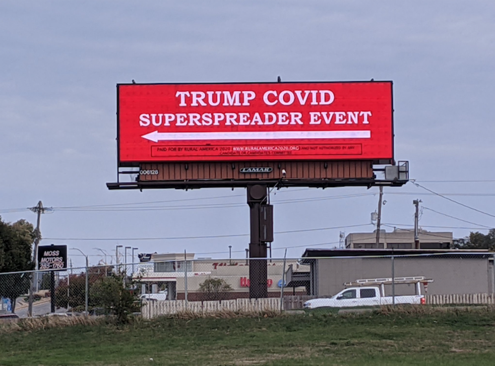 The campaign group Rural America 2020 installed the billboard opposite Des Moines airport ahead of Trumps rally on Wednesday