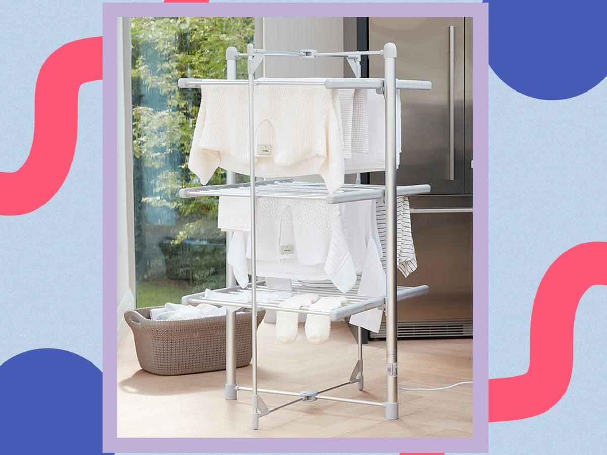 Radiator Rack 2 Bar Tier Airer Dryer Towel Holder Rail Clothes Bathroom New