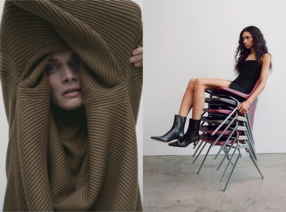 Suéter de punto de gran tamaño / Botines de tacón de cuero suave con puntera cuadrada.