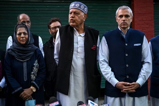 Three former chief ministers of erstwhile Jammu & Kashmir state at the meeting on Thursday: (From left) Mehbooba Mufti, Farooq Abdullah and his son Omar Abdullah