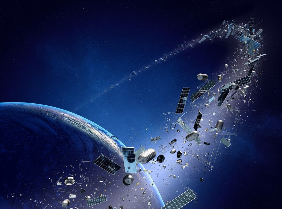<p>File image: Space junk is becoming an increasing problem as more and more objects are sent into low-Earth orbit</p>