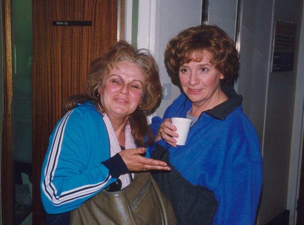 Julie Walters and Victoria Wood on the set of 'Dinnerladies'