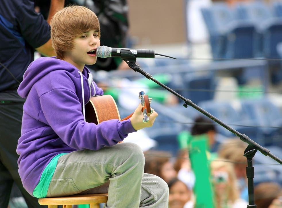 Justin Bieber actúa en el US Open 2009 en la ciudad de Nueva York