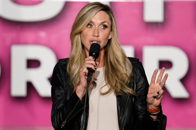 Lara Trump speaks to a crowd during a campaign rally on a Women for Trump Bus Tour campaign event on 8 October 2020.