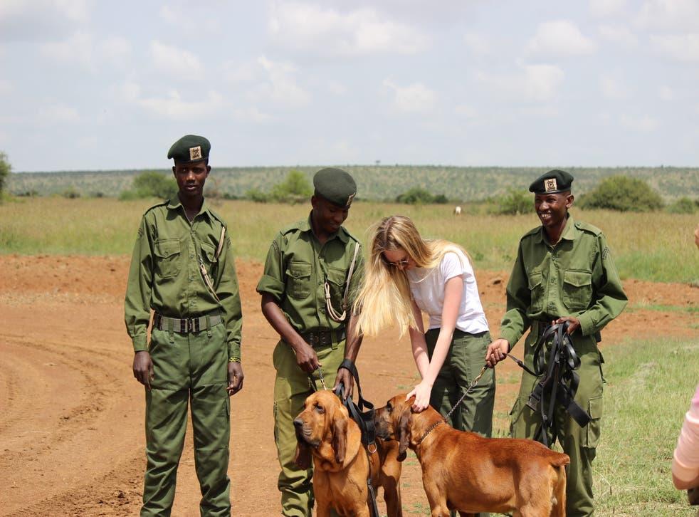 Emily Walker, the founder on KAAP, meets frontline anti-poaching rangers in Kenya