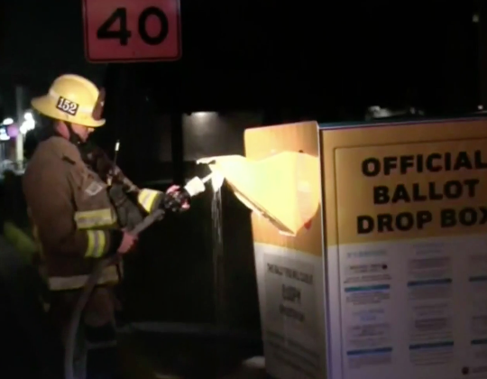 'Tampering with our democracy will not be tolerated': California ballot drop box set on fire in suspected arson attack - independent