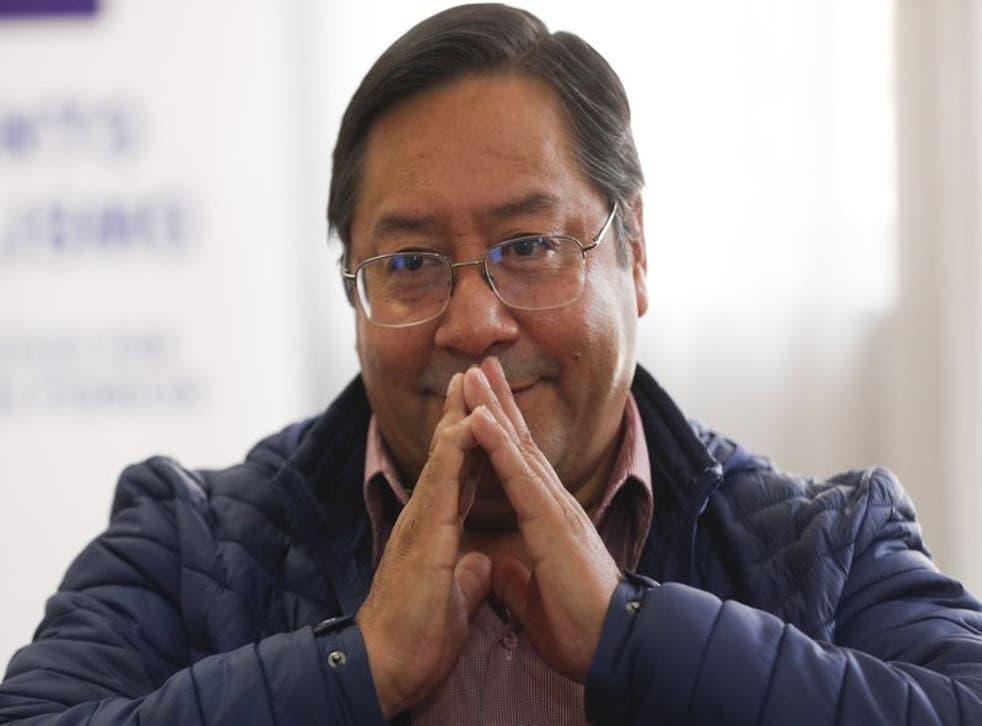 Luis Arce, candidato presidencial del Movimiento al Socialismo (MAS), ofrece una entrevista en su sede de campaña en La Paz, Bolivia, el martes 20 de octubre de 2020. (Foto/Juan Karita)