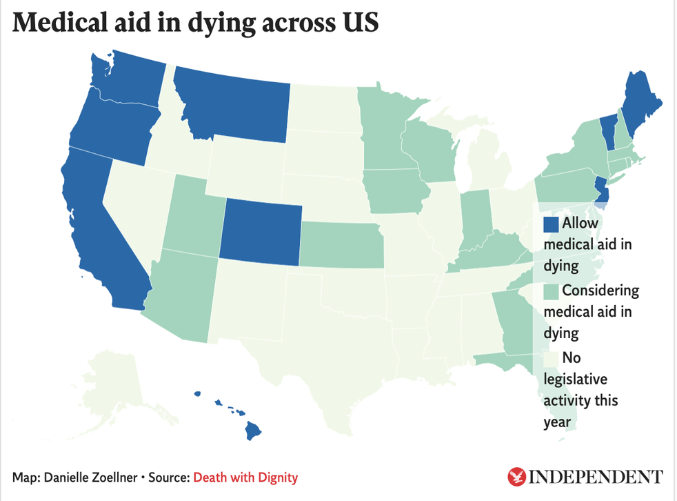 Nine states and the District of Columbia currently have laws that allow medical aid in dying for their residents