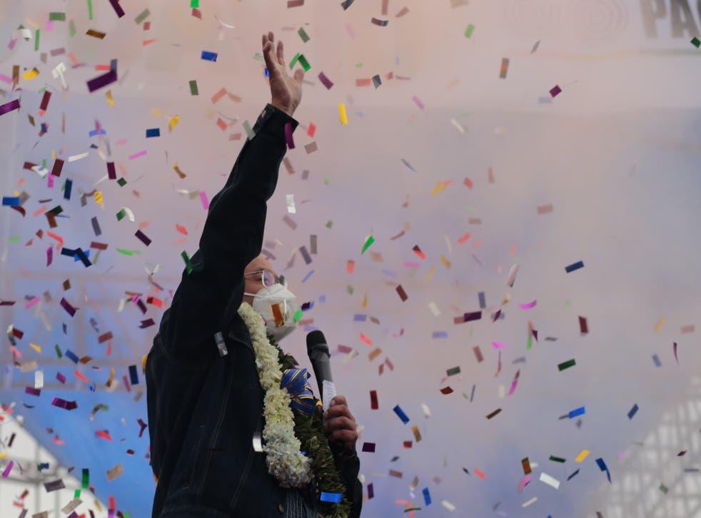 Luis Arce durante su acto de clausura de las elecciones presidenciales del 14 de octubre de 2020 en El Alto, Bolivia.