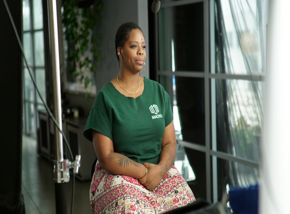 <p>Patrisse Cullors speaks during a PBS documentary</p>
