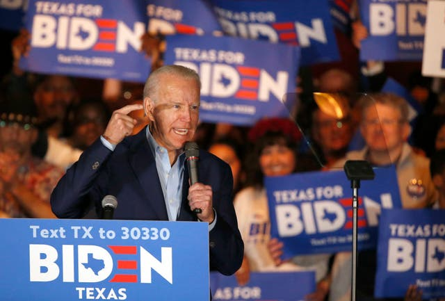 Former VP speaks during a campaign event in Dallas, Texas, on 2 March