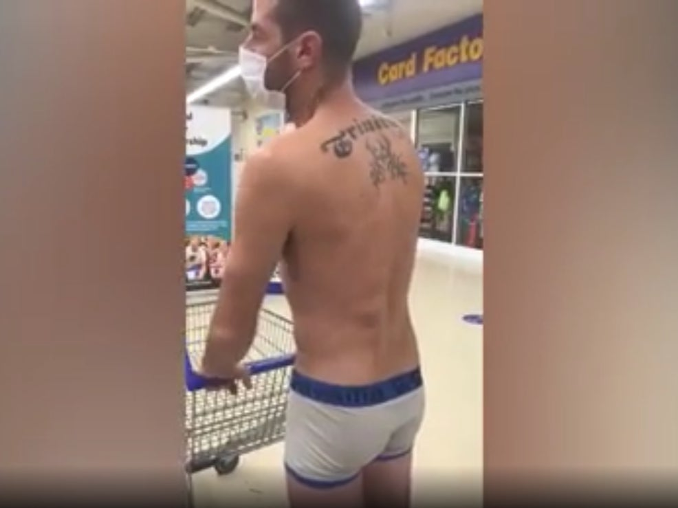 Man tries to shop in underpants in protest at clothes being deemed 'non-essential' in Wales