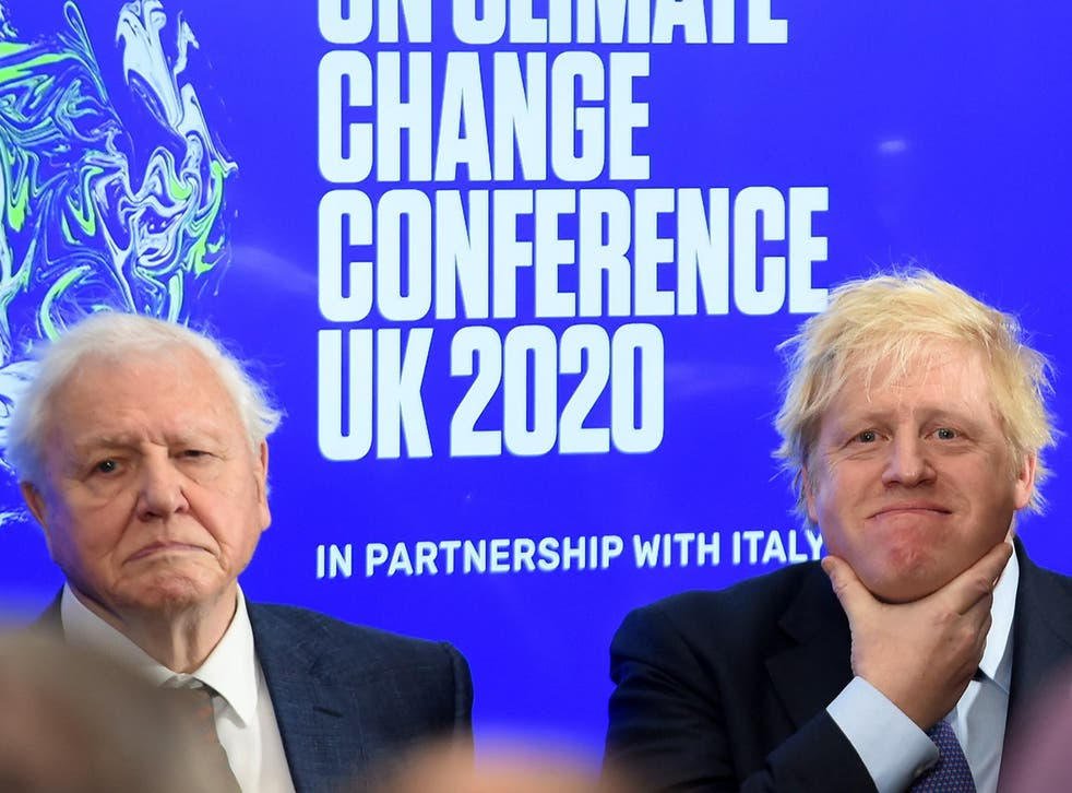 Boris Johnson and David Attenborough attend an event to launch the UN Climate Change conference, COP26, in central London on 4 February, 2020