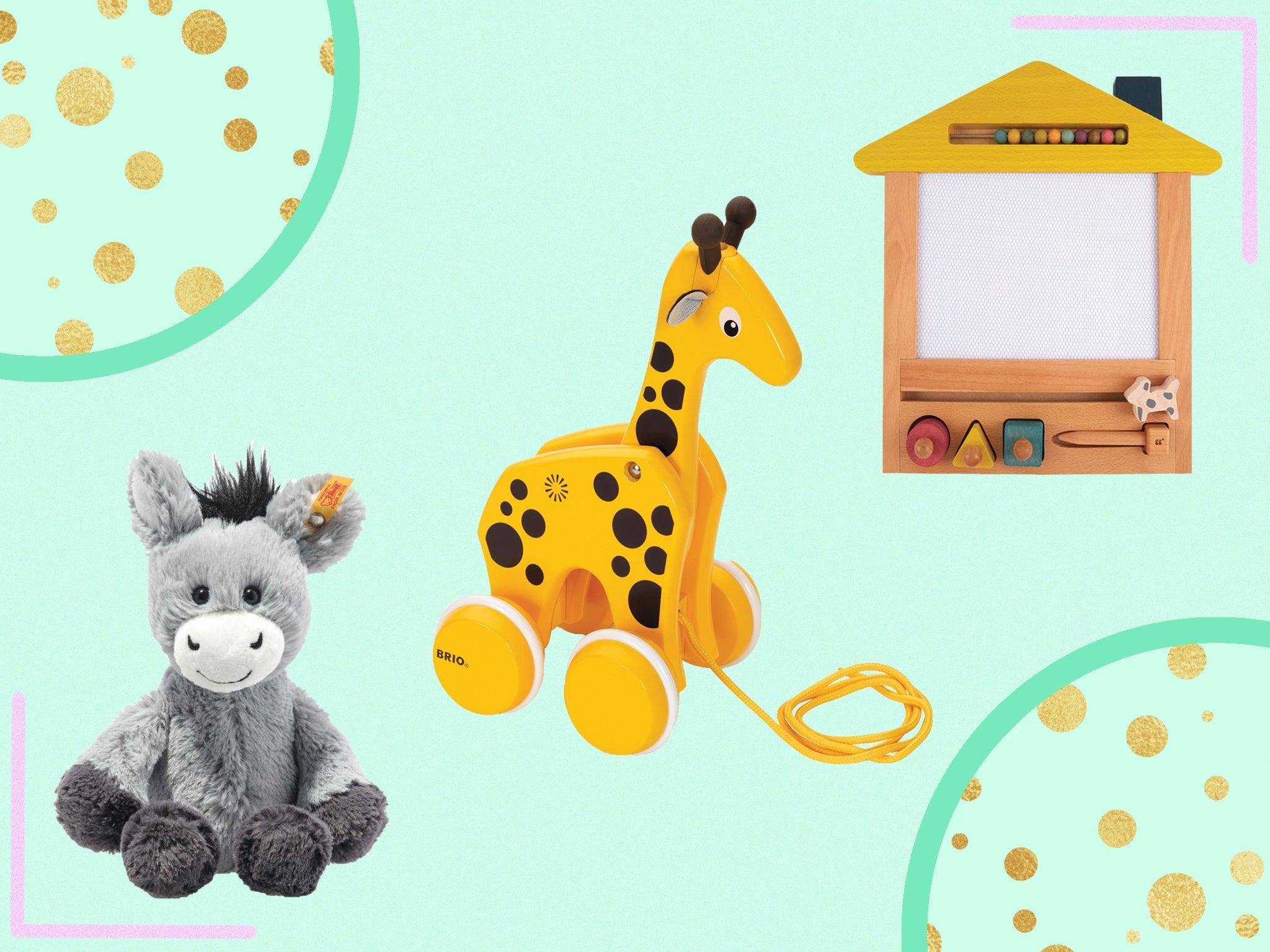 Award Winning Grey Toddler Activity Table Little Balance Box 2-in-1: No Wheels Spring Feet Girl Boy Baby Walker Push Stand Toys