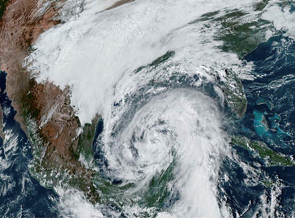 <p>A NOAA satellite image shows Tropical Storm Zeta approaching the coast of Louisiana&nbsp;</p>