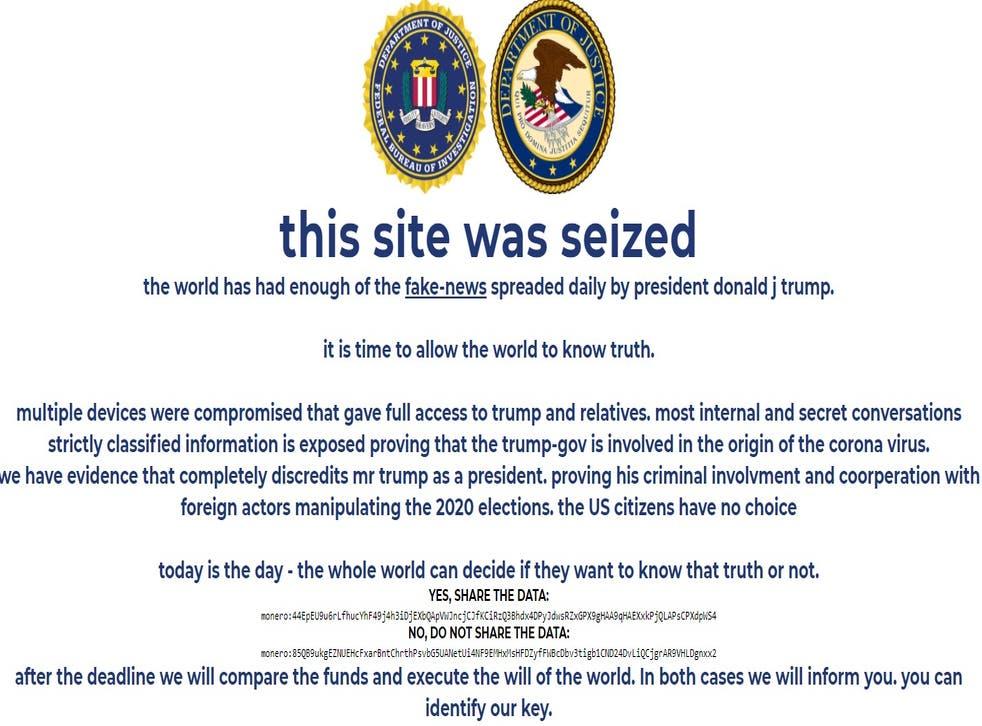 El sitio web de la campaña electoral de Donald Trump 'incautado' brevemente por hackers.
