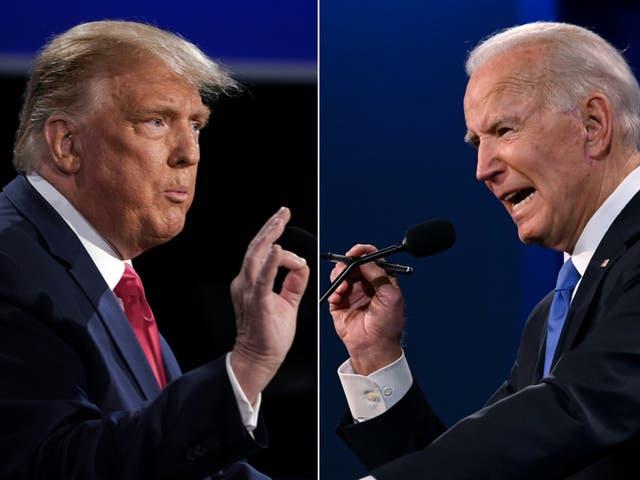 Biden y Trump durante el debate presidencial final en la Universidad de Belmont en Nashville, Tennessee, el 22 de octubre