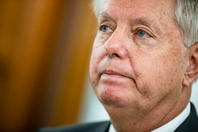 El presidente del poder judicial del Senado, Lindsey Graham, durante el cuarto día de audiencias de confirmación del Comité Judicial del Senado para la jueza Barrett.