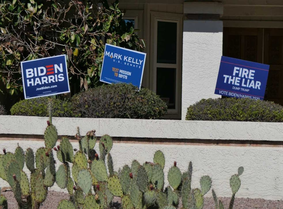 <p>Signs supporting Democrats in Arizona, which has a real change of going blue in 2020 after decades of voting for conservatives in national elections.</p>