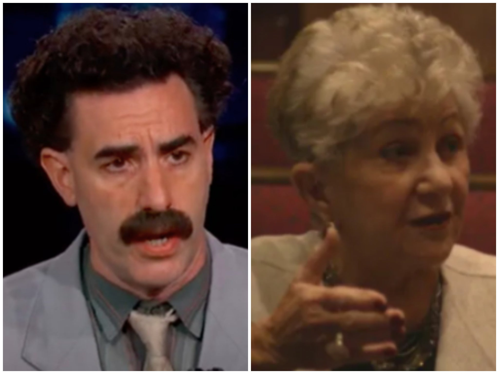 When exactly did Sacha Baron Cohen reveal his identity to Judith Dim Evans in Borat 2?